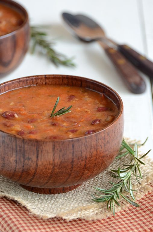 Rosemary Red Bean Soup - a tasty recipe that comes together in a matter of minutes!