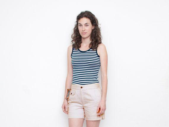 Navy blue and white striped sleeves tank NOS por blessthatdress