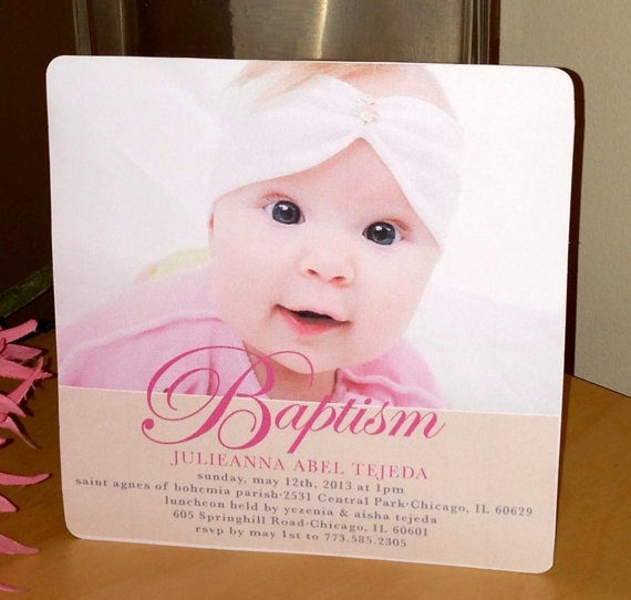 5 x 5 Baby Girl Baptism Invitation by DesignMeSweet on Etsy, $2.25