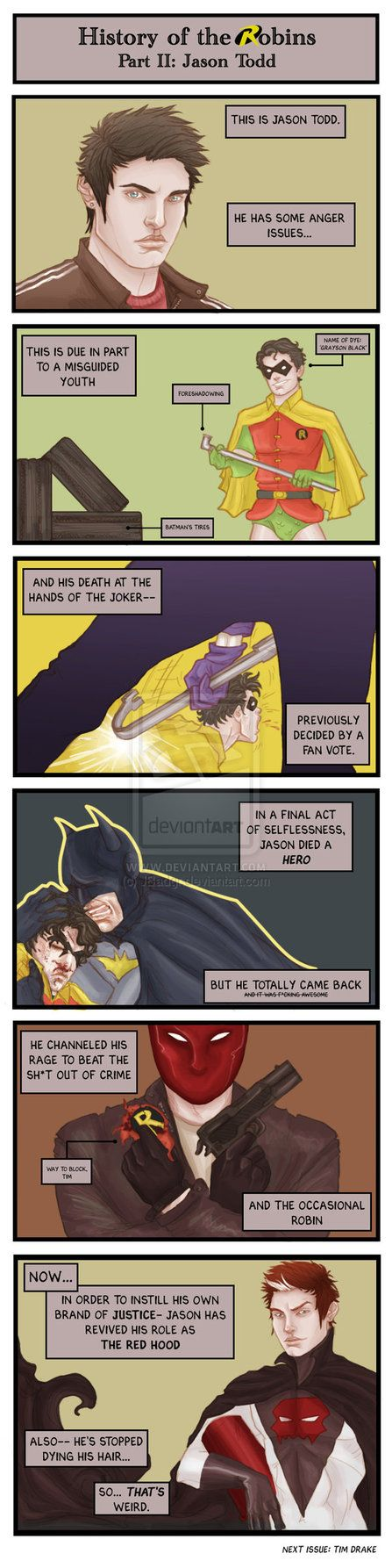 Comic: Robin History Part II by JBadgr on DeviantArt - jason has a streak of silver hair from his dip in the lazarus pit he used to dye it black