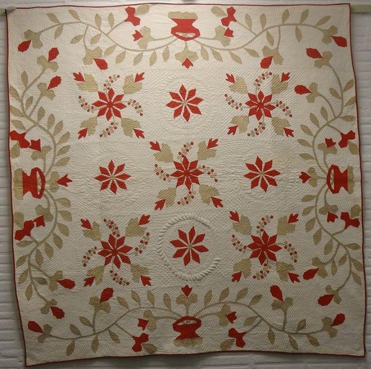 coxcomb and currants trapunto applique antique quilt laura fisher