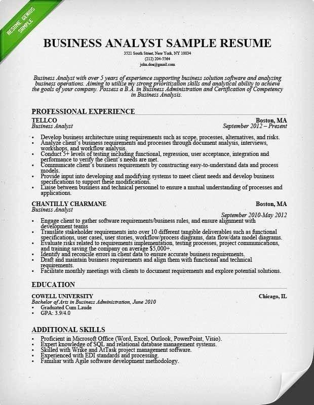 Business Analyst Resume Sample Monster Business