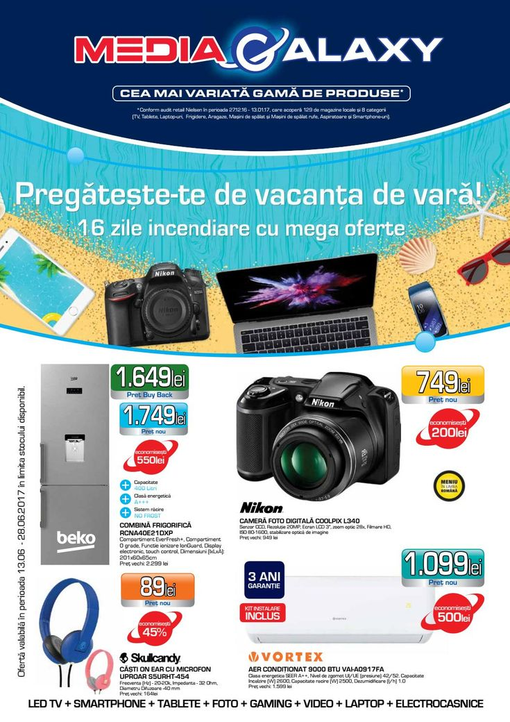 Catalog Media Galaxy Vacanta de vara 13-28 Iunie 2017! Oferte: Gratar electric DELIMANO Astoria 105396625, 199,95 Lei; camera foto digitala Coolpix L340