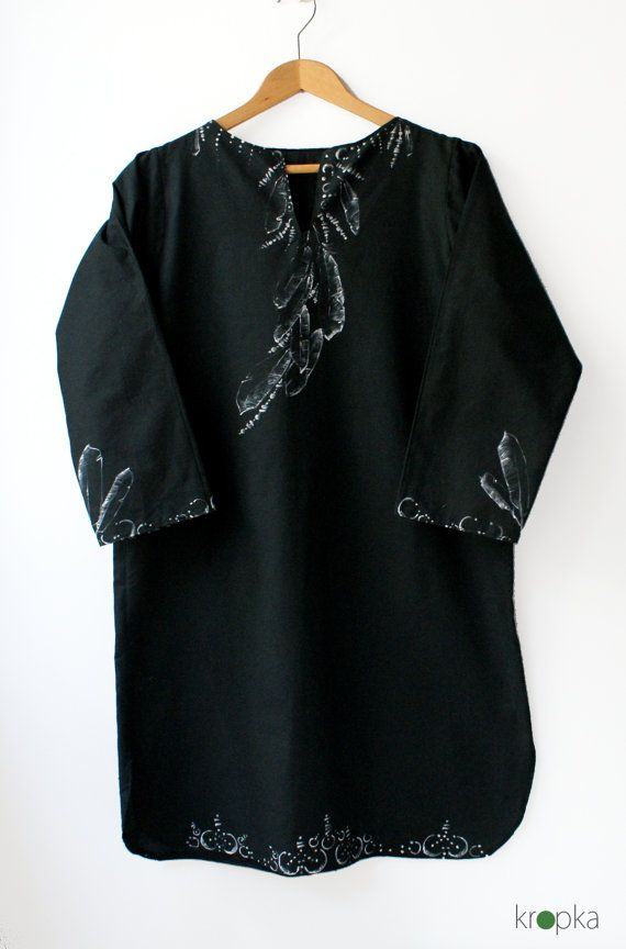 Black tunic Tunic with feathers Eco friendly tunic by KropkaDesign