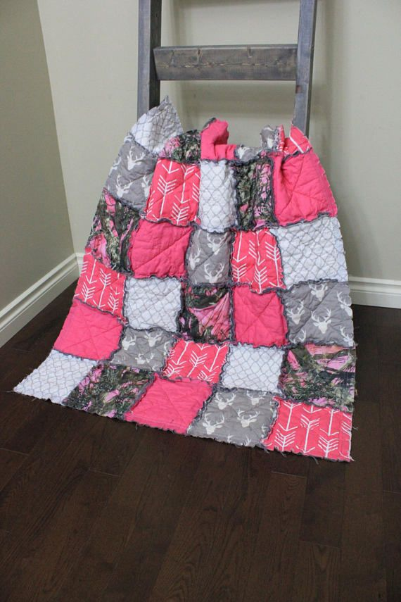 Ready To Ship Baby Girl Rag QuiltGirl Camo Quilt Pink Camo