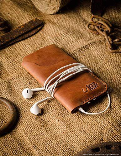 innovative design 2fc95 5ca95 Amazon.com: Leather iPhone X case/sleeve | Classic Brown, handmade ...