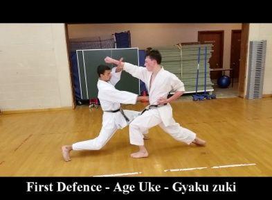 Shotokan Karate Kumite exercise. Attack gyaku zuki, block age uke gyaku zuki, whilst moving towards the on coming atttack. http://karateclassesonline.com/simultaneous-block-and-counter-shotokan-karate-kumite-exercise/