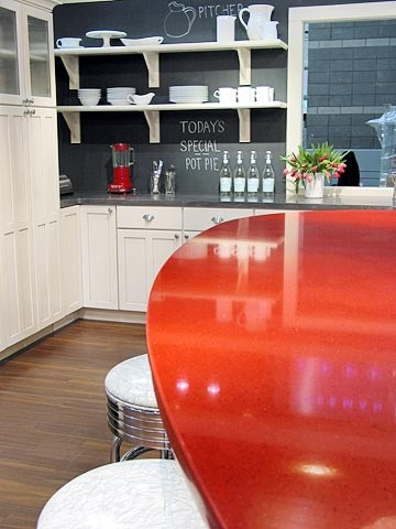 Chalkboard backsplash. This will be a must in my house.