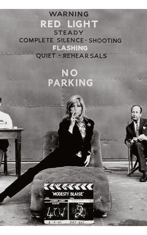 Monica Vitti at Pinewood Studios, 1966, on the set of Modesty Blaise.