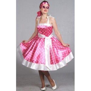 Déguisement rock'n roll femme luxe, Déguisement 60's robe rose à pois blancs années 60,