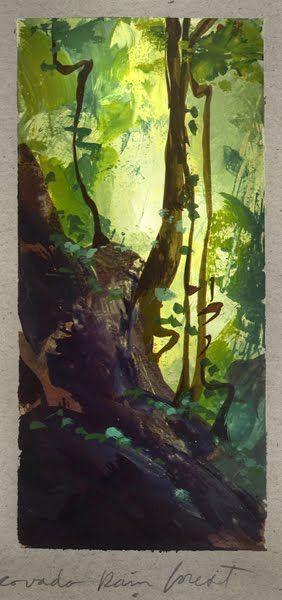 """Op de voorgrond grote donkere bomen, naar achteren steeds lichter van kleur, """"Covorado Rain Forest, Costa Rica,"""" Nathan Fowkes."""