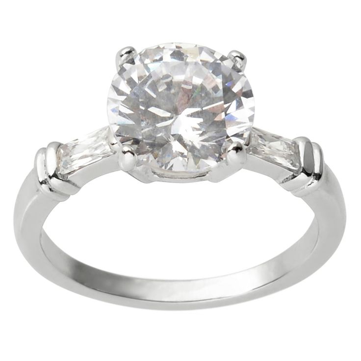 5 3/4 CT. T.W. Round-cut Cubic Zirconia Engagement Basket Set Ring in Sterling Silver - Silver, 8, Women's