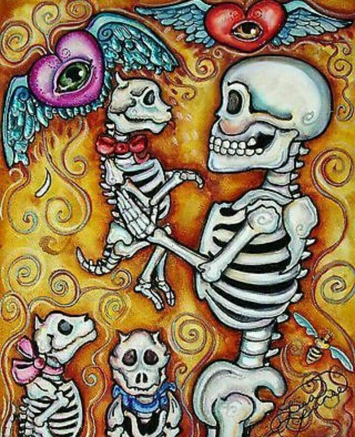 Picking Up Puppy by Lisa Luree Day Of The Dead Artwork, Day Of The Dead Skull, Los Muertos Tattoo, Sugar Skull Artwork, Sugar Skulls, Shetland, Skeleton Art, Creepy Cute, Mexican Art