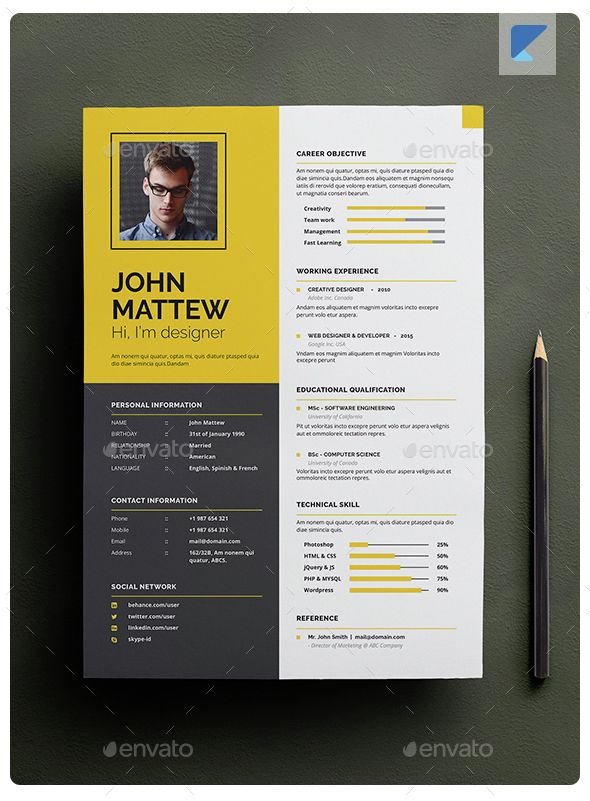resume template indesign indd  design download