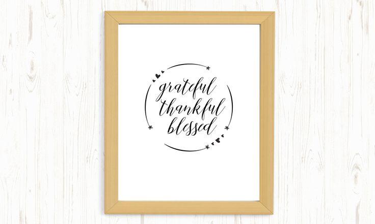 Grateful thankful blessed printable, Grateful thankful blessed digital print, blessings printable, blessed printable, christian printable by ThePrintableCorner on Etsy