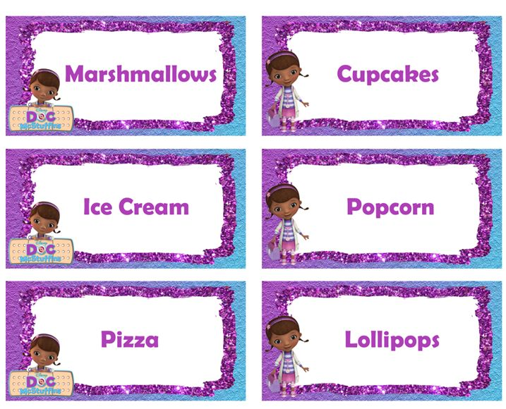 Doc McStuffins Food Labels - FREE PDF Download