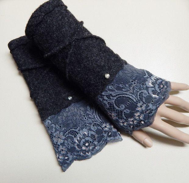 Armstulpen - Walkstulpen Stulpen Armstulpen Pulswärmer Grau - ein Designerstück von Carins-Mode bei DaWanda