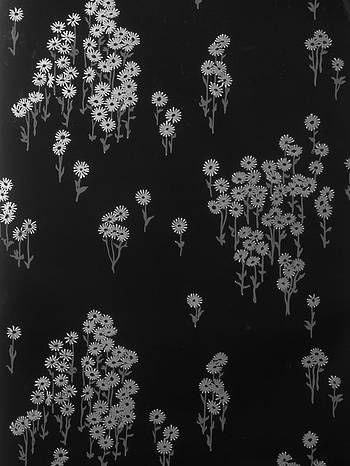 Wallpaper: Scatter Daisy in Lead Black and Moonlight Silver on Gloss Black by Florence Broadhurst.