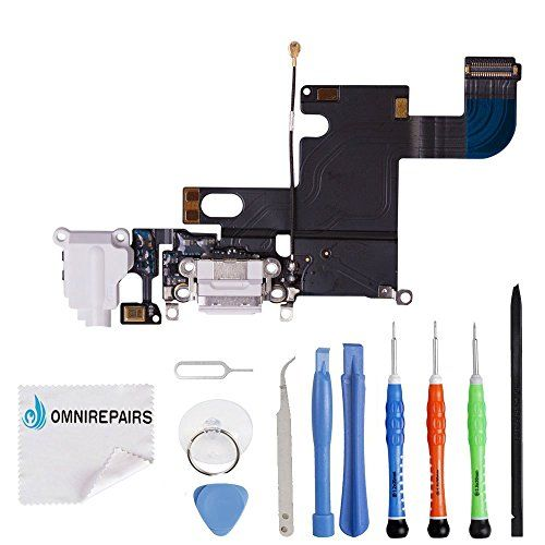 Omnirepairs-For iPhone 6 4.7' A1549, A1586, A1589 Charging USB Port Flex Cable + Microphone + Headphone Audio Jack Port Ribbon Replacement + Tools  http://topcellulardeals.com/product/omnirepairs-for-iphone-6-4-7-a1549-a1586-a1589-charging-usb-port-flex-cable-microphone-headphone-audio-jack-port-ribbon-replacement-tools/  Brand New – Grade A Charging Dock Replacement Includes x1 White Charging Dock Microphone Audio Jack Replacement + x1 Repair Toolkit Instructions are N