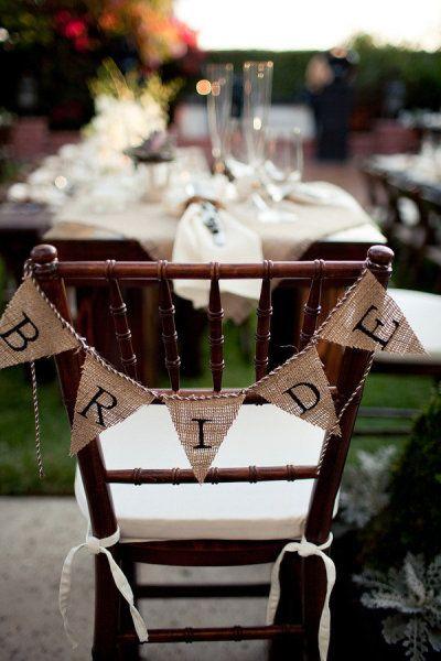 love the burlap pennant sign