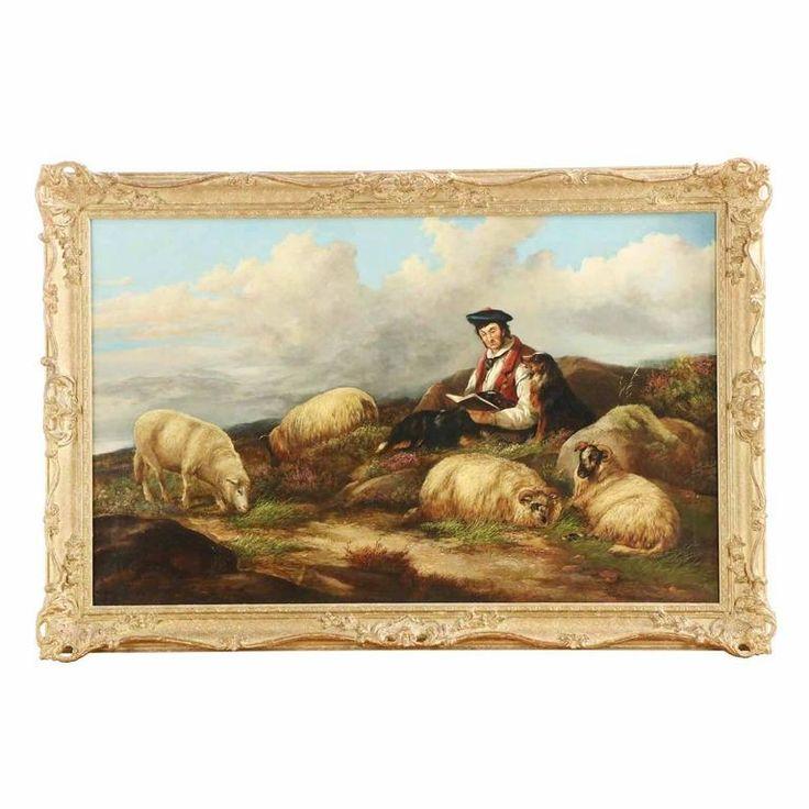 "Large British Landscape Painting ""Shepherd with Flock"" by James Morris c. 1857 1"