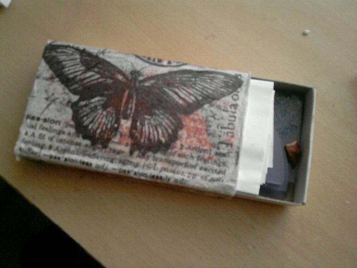 Matchbox with decoupage.