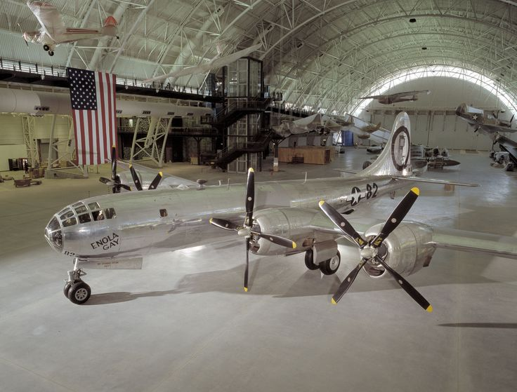 """Enola Gay is a Boeing B-29 Superfortress bomber, named for Enola Gay Tibbets, mother of the pilot, then-Colonel (later Brigadier General) Paul Tibbets.[2] On 6 August 1945, during the final stages of World War II, it became the first aircraft to drop an atomic bomb on an enemy target in a war. The bomb, code-named """"Little Boy"""", was targeted at the city of Hiroshima, Japan, and caused unprecedented destruction"""