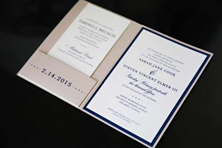 Custom navy and rose gold pocket wedding invitations. These spectacular rose gold invitation folders were foil-stamped in navy foil on both the front cover and the pocket to create a truly sensational invitation. Photo by Tab McCausland Photography, stationery by Dogwood Blossom Stationery.