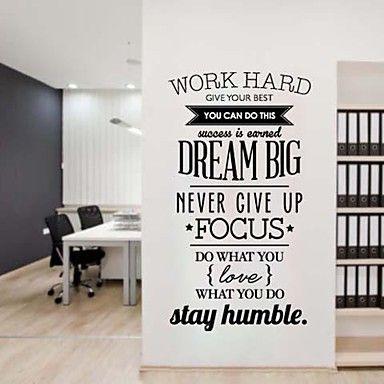 jiubai® droom groot citaat inspiratie muursticker muurtattoo, 58 * 95cm - EUR € 26.35