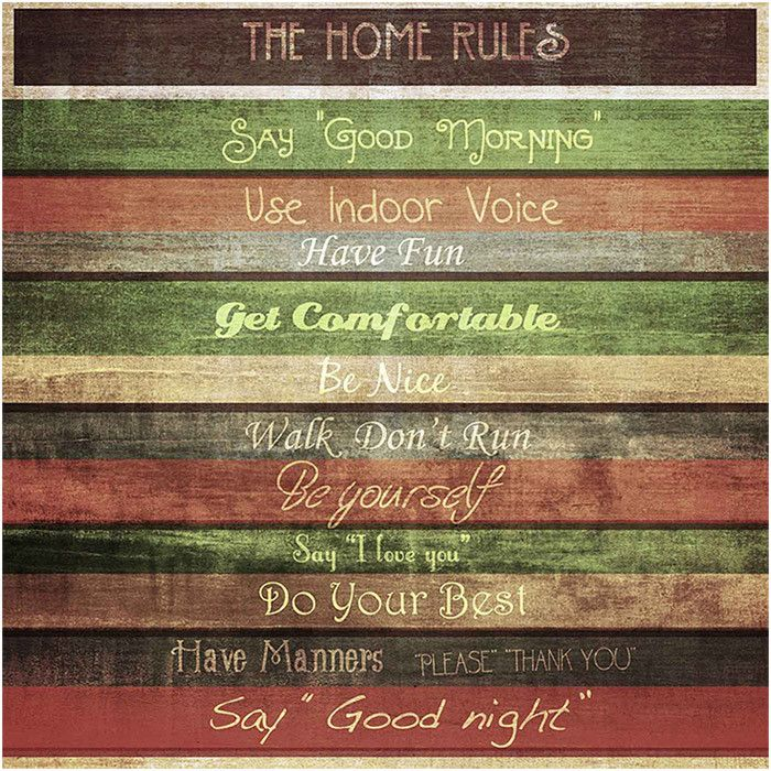 Home Rules Canvas Print. Could use on wood slats too.