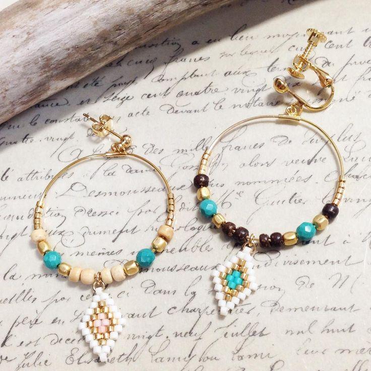 フープピアス&イヤリング♪ まるいフープをキレイに見せたいからゴテゴテつけずにシンプルに☆ウッドビーズも取り入れてみましたよ^ ^ #banacafe #accessories #beads #beadedearrings #handmade #handmadeaccessory #アクセサリー #ハンドメイド #ハンドメイドアクセサリー #ビーズ #ビーズステッチ