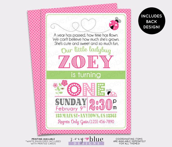 Pink Ladybug Birthday Invitation 1st Birthday Typographic Ladybug with Backing Pink Lady bug Green Black Ladybug Printable Digital File