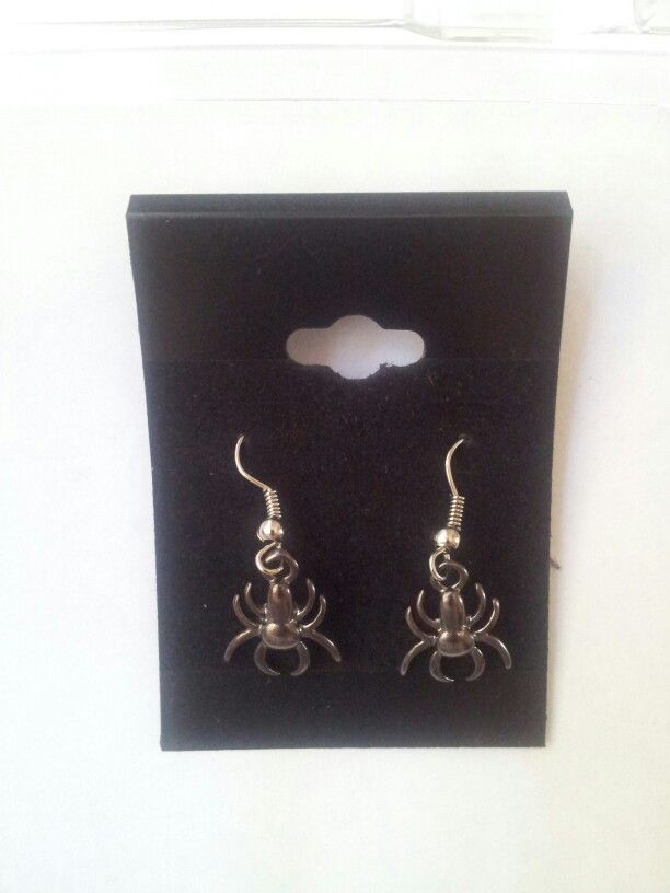 Handmade Spider Earrings.  Silver and Gunmetal Grey. $5.00AUD.