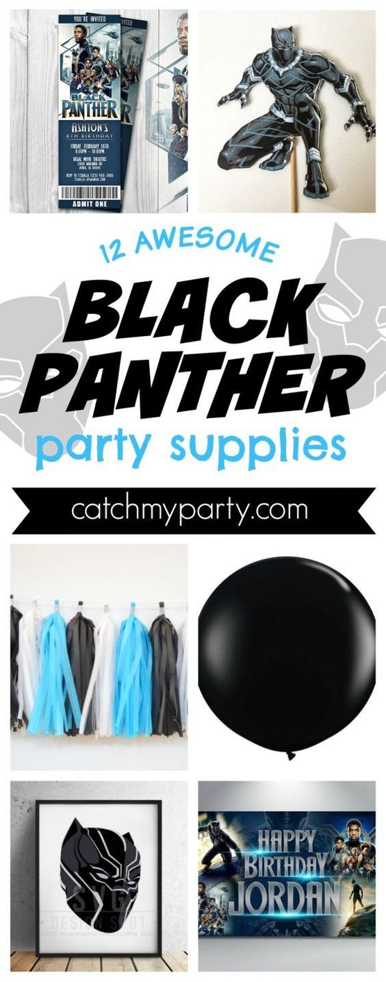 12 Awesome Black Panther Birthday Party Supplies | CatchMyParty.com #catchmyparty #blackpanther #blackpantherparty #blackpantherpartysupplies