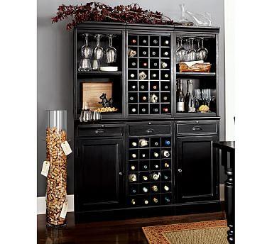 Lovely Black Wine Bar Cabinet