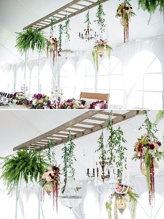 Ladder used as plant hanger @weddingchicks