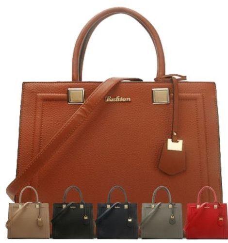 Womens Tote Faux Leather Handbag Uk Designer Gold Detail Shoulder Strap