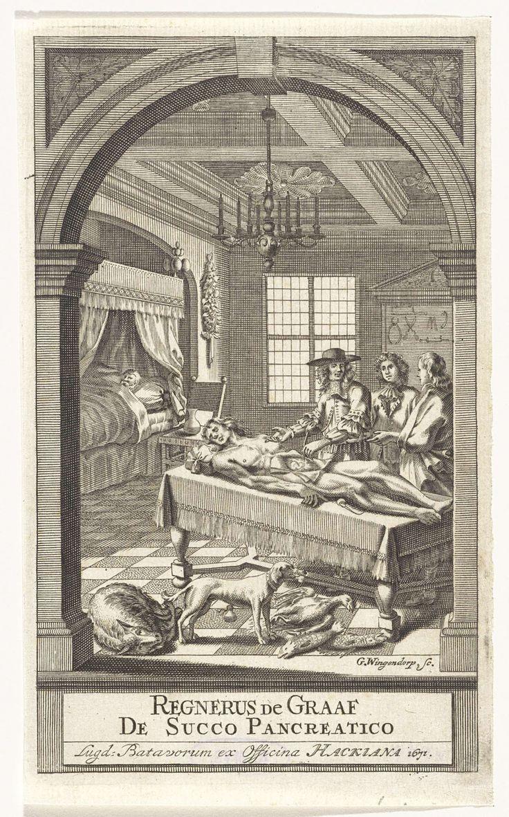 G. Wingendorp | Reinier de Graaf tijdens een anatomische les, G. Wingendorp, officina Hackiana, 1671 | Arts Reinier de Graaf geeft twee leerlingen een anatomische les. Voor hem ligt een man met een geopende buikholte op een tafel. Aan de andere kant van de tafel liggen enkele dode dieren. Linksachter ligt een man in bed.