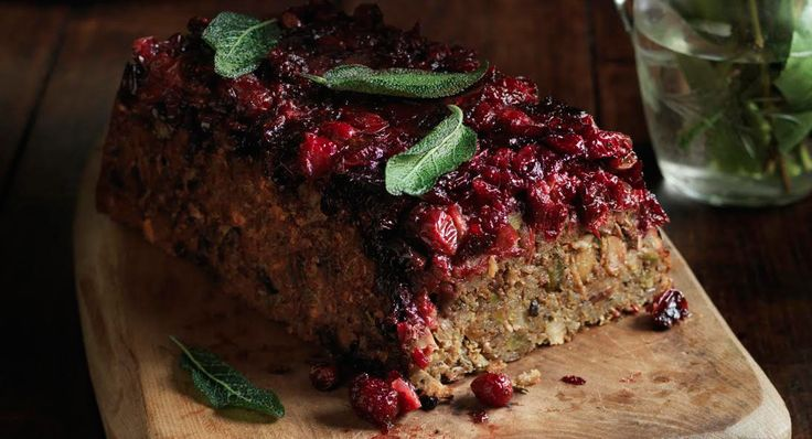 Nut roast is the vegetarian's turkey, some crave something different but for others it's not Christmas without it. A lover or a hater – this one is different, a flavour packed mushroom risotto base, sticky cranberries sit on the top a bit like a savoury upside down cake.