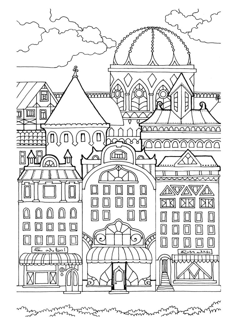 Картинка город раскраска антистресс