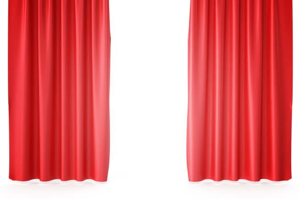 Red Velvet Stage Curtains Scarlet Theatre Drapery Silk