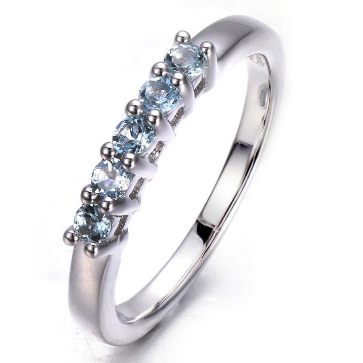 Five Natural Aquamarine Stone  Solid 925 Sterling Silver Band Ring