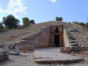 "MYCENAEAN. Entrance, Treasury of Atreus, ""tholos"" tomb on the Panagitsa Hill at Mycenae, Greece, constructed during the Bronze Age around 1250 BC."