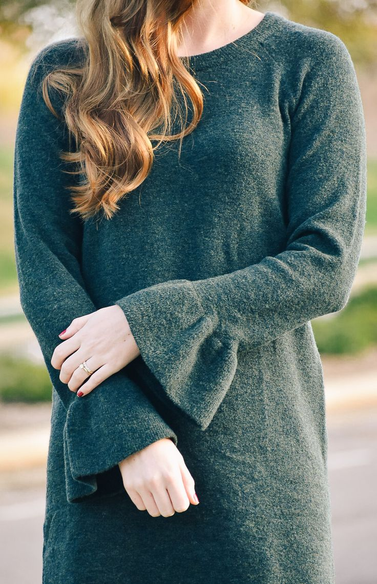 The Softest Sweater Dress, how to wear a sweater dress, what to wear with a sweater dress, fall hair, long hair, curls