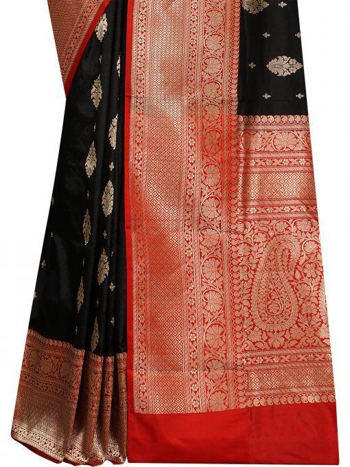 209c40e95 Black Color Pure Katan Silk Banarasi Saree weaved in Zari Booti All Over  the Body With Red Contrast Zari Work on Border And Pallu. Shop Now!