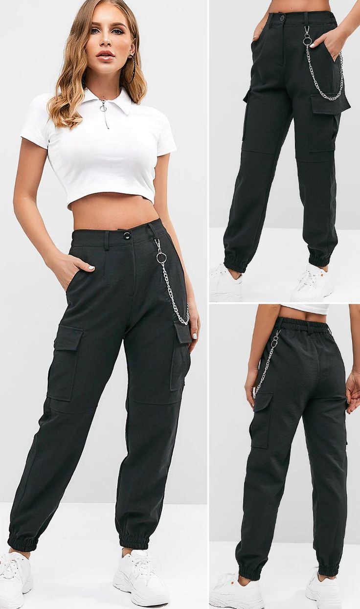Flap Pockets Chain Jogger Pants