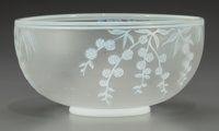 A Thomas Webb & Sons Overlay Glass Floral Bowl, Stourbridge, England, circa 1890 Marks: THOMAS WEBB & SONS