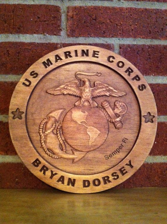 USMC personalized wood carved plaque sign military on Etsy ...