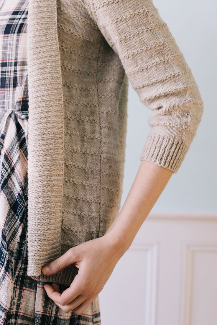 """eventide cardi / from the book """"texture: exploring stitch patterns in knitwear"""" by hannah fettig of knitbot / in quince & co. finch, color audouin"""