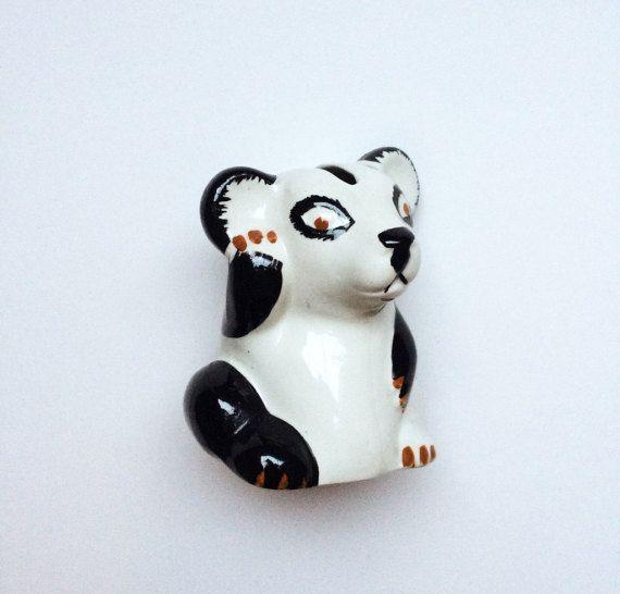 Vintage panda bear ceramic money box / piggy bank by GalabeerandtheDog